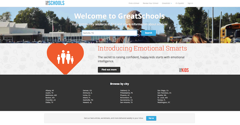 Click here to go to the GreatSchools.org site and research Nashville area schools.
