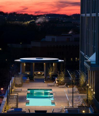 The alluring swimming pool at the Adelicia is the perfect spot for a nightcap. The pool is only one of the amazing amenities available to owners in this penthouse for sale in downtown Nashville. Click on the image for more photos and additional information from The Lipman Group Sotheby's International Realty.
