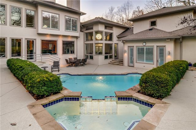 A smartly designed pool compliments the right angles in this modern mansion for sale at 2 Morningside in Nashville. Offered at $1,150,000. Click on the image for more info and additional photos from The Lipman Group Sotheby's International Realty.