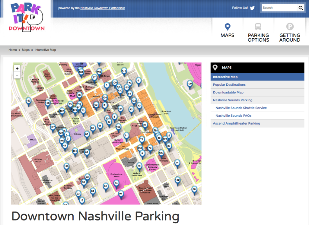 Click here to access the interactive parking map for Downtown Nashville.