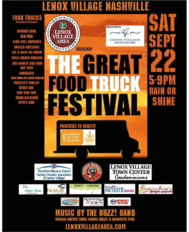 Nashville is such a great city with plenty of things to do and see throughout the fall. It seems like there is a great festival in Greater Nashville just about every weekend! September 22 - The Great Food Truck Festival in Lenox Village