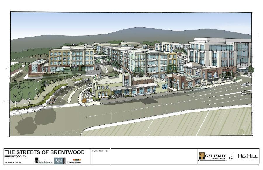 The proposed mixed-use development at the southwest corner of Franklin Road and Maryland Way passed its first hurdle - a rezoning request that was unanimously approved on first reading this week - the 17-acre site is now zoned for office space only. Developers GBT Realty Corp. and H.G. Hill Realty Co. want Town Center zoning to allow for a 970,000-square-foot mixed-use project with retail and restaurants, an 11-screen CineBistro movie theater, a hotel, office space and 250-300 leased condo units.