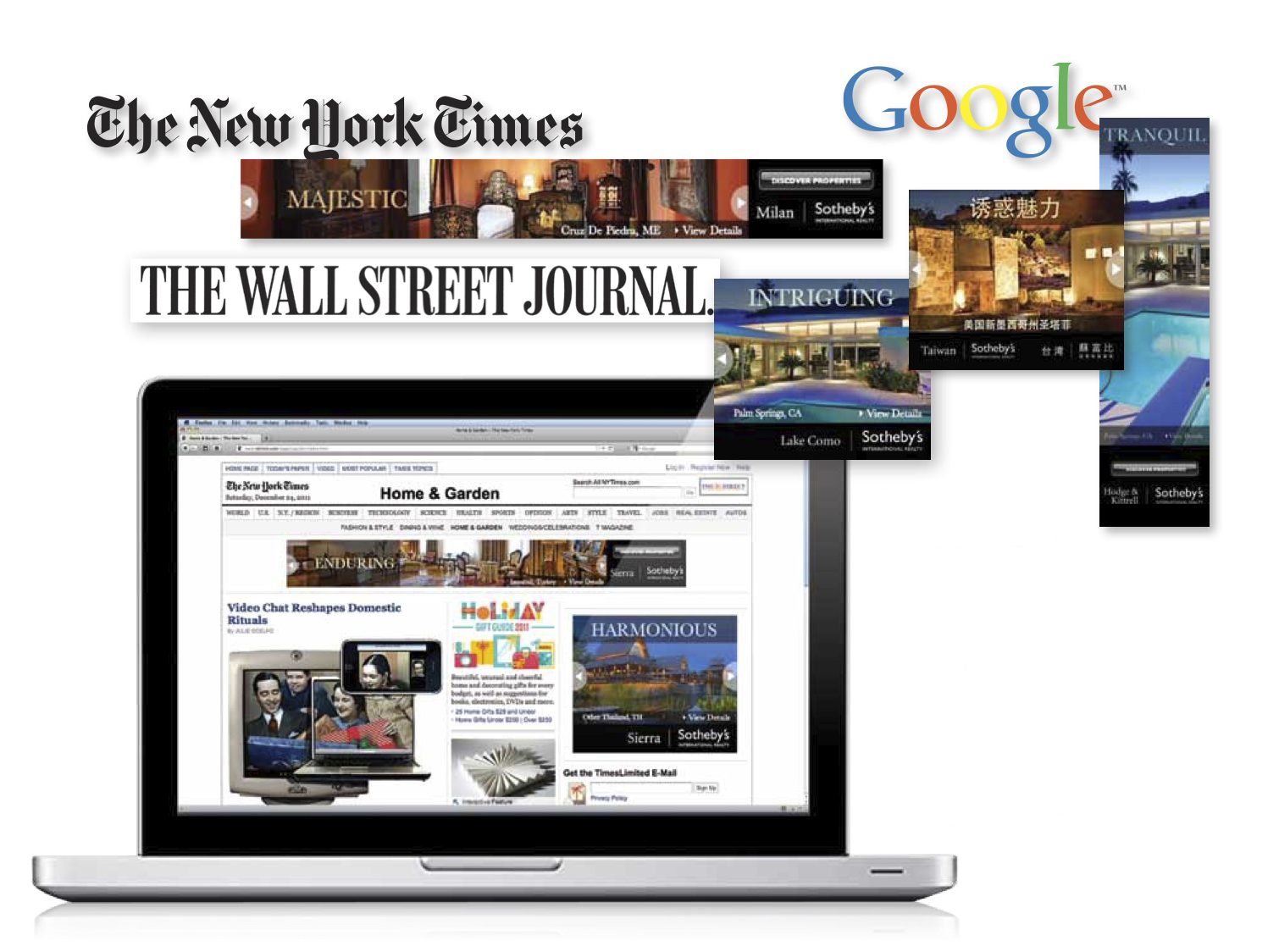Our clients enjoy global media exposure from the America's to the Pacific Rim via well-known media moguls including: The New York Times, The Wall Street Journal, BBC, The Daily Telegraph, Financial Times, South China Morning Post, YouTube and Google.