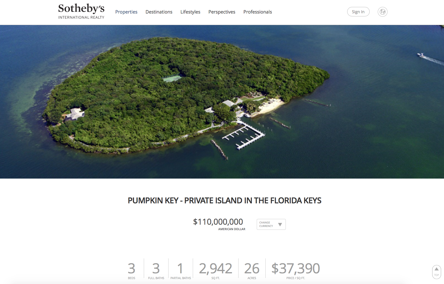 Pumpkin Key in Florida is a water front property for sale by Sotheby's International Realty.