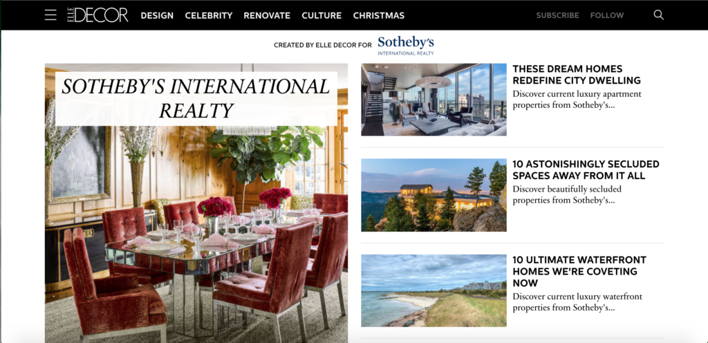 Sotheby's International Realty Partners with Elle Decor